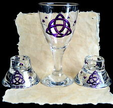 Chalice & Candle Holder  Wicca PaganAltar Triquetra  Hand-fasting Gift