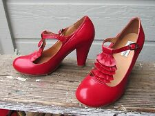Steve Madden Red Patent Leather T-Strap Mary Jane Pump Heel EU 37.5 US 7.5 LOOK