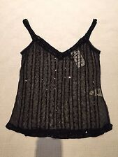 BNWT H&M strappy black top with sequin embroidery UK 8/10
