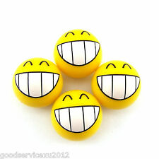 4 Pcs Teeth Face Expression Car Wheel Valve Tire Tyre Air Dust Covers Universal