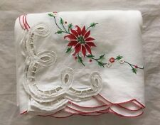 "Large Christmas Tablecloth ~ 116""x66"" ~ Embroidered Poinsettias & Lace Cutouts"
