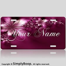 Personalized Your Text Name Custom License Plate Auto Car Tag Purple Flower 3