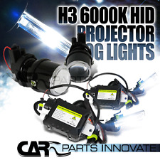 Glass Lens Projector Fog Lights Driving Lamps Kit Pair With 6000K H3 HID Kit
