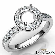 Classic Round Diamond Engagement Halo Pave Ring Semi Mount 18k White Gold 0.45Ct