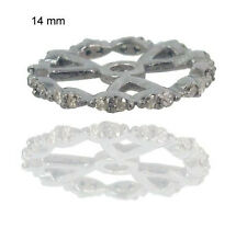 .925 Sterling Silver Rondelle Spacer Wheel Pave Diamond Finding Handmade Jewelry