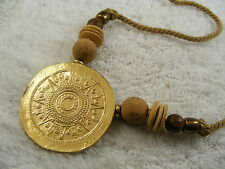 Goldtone Brown Wood Bead & Cord Egyptial Revival Necklace (D78)