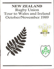 NZ ALL BLACKS TO WALES & IRELAND 1989 PLAYERS ITINERARY