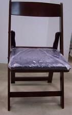 QTY 2 FOLDING MAHOGANY SOLID WOOD CHAIR PADDED BLACK POKER WEDDING PARTY CHAIRS