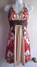bebe Silk Stretch Scarf print Beaded Halter Mini Dress Tunic Sz XS