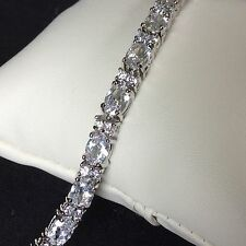 "GB000 Plum UK sim diamond 7.25"" tennis bracelet silver (white gold gf) BOXED"