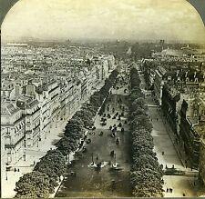 Stereoview Photo Avenue des Champs Elysees Paris France