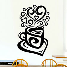 Love Tea Coffee Cup Kitchen Wall Tea Sticker Vinyl Decal Art Restaurant Pub Deco