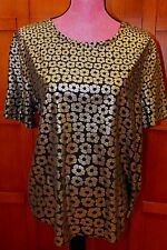 Equipment Femme Black Gold Short Sleeve Metallic Blouse Button Front Top Tunic L