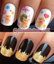 NAIL ART SET #216 KAWAII TEDDY BEARS WATER TRANSFERS/DECALS/STICKERS & GOLD LEAF