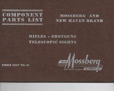 1961 Component Parts List Booklet for Mossberg Shotguns Rifles and Sights