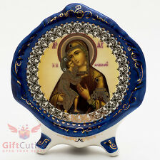 Porcelain gzhel decal plaque Icon Feodorovskaya Mary Феодоровская икона БМ