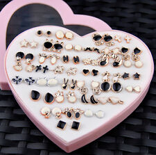 Wholesale lot 36 pairs fashion Mixed styles Black and White earrings ED396