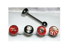 Lot de 4 Piercing sous blister piercing langue Barbell crane biker lot de 4