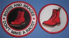 SKINHEAD SKA REGGAE PATCH - BOOTS AND BRACES - DON'T MAKE A RACIST - 2 PATCHES