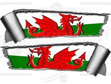 Pair 290mm Rolled Ripped Tear Torn Metal Effect Welsh Dragon Vinyl Car Stickers