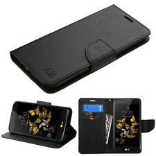 LG PHOENIX 2 K371 K8 GOPHONE FULL BLACK FLIP JACKET CASE WALLET POUCH COVER