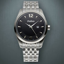 NEW Omikron 1258M Men's Swiss Made Paladin black face  Steel Watch no box