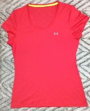 Under Armour T-Shirt Large Womens Running Scoop Neck Cap Sleeves Blood Orange