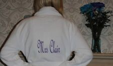 Personalised Bride, bridesmaid, Luxury fleece Robe, wedding Dressing Gown white