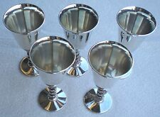 5 Silverplate Pedestal Cordial Goblets Spain ROMA S.L. - VERY NICE