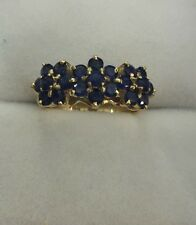 14k Solid Yellow Gold Flower Ring with Natural Sapphire Round Cut 2.79CT3.83GM