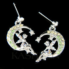 w Swarovski Crystal Green Tinker Bell Tinkerbell Moon fairy Earrings Jewelry New