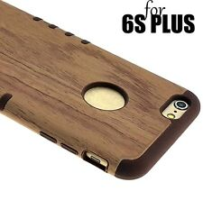 For iPhone 6+ / 6S+ Plus -HYBRID SLIM FIT ARMOR SKIN CASE COVER BROWN WOOD ARMOR