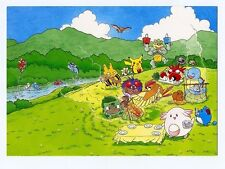 Pokemon 1999 Picnic Japanese Promo Beautiful Post Card Pikachu Squirtle Meowth