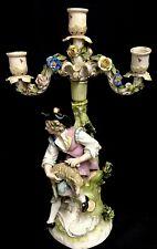 Circa 1880 Sitzendorf Figural Candelabro de Pastor cizallamiento sus carneros