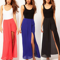Sexy Women Boho Retro Chiffon Skirt Open Side Split Solid Long Maxi Skirt Dress