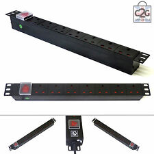 "19"" 7 Way Power Distribution Unit Strip Horizontal UK PDU Data Lan Cabinet Mount"