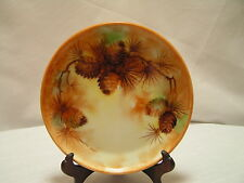 "Antique Rosenthal Selb Bavaria Donatello Hand Painted Pine Cone Plate c.1905 7""D"