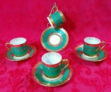 Set of 4 ROYAL CROWN 1699 Demitasse Cups & Saucers Green & Gold Hand Painted