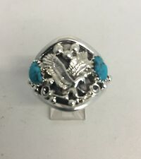 Native American Navajo Sterling Silver Eagle Design Men's Ring Turquoise Size 14