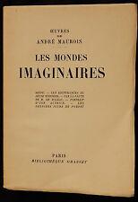 C/ Oeuvres de André Maurois LES MONDES IMAGINAIRES Grasset (Sur Vélin) 1929