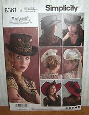 Womens/Misses Arkivestry Steampunk Hats Sewing Pattern/Simplicity 8361/SZ S-L/UN