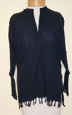 Boho_Peasant_Black Fringed Crinkled Embroidered Shirt_Kurta_Tunic_Free Size