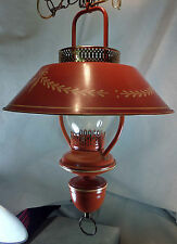 Vintage Mid-Century Chinese Red Ceiling Lamp w Bouillotte Style Tole Metal Shade