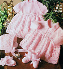 """VINTAGE BABY KNITTING PATTERN DK 19"""" DRESS COAT BONNET BOOTEES MITTS"""