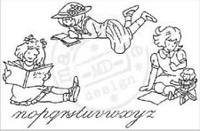 Marianne LITTLE SWEETHEARTS Clear Rubber Stamp Set GIRLS READING TC0818 REDUCED