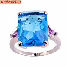Splended Emerald Cut Blue Topaz & Amethyts 925 Stamped Silver Ring Size 9 - R