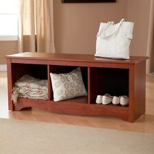 Storage Bench Wood Open Cubbies Compartments Bedroom Entryway Seat Mudroom Shoes