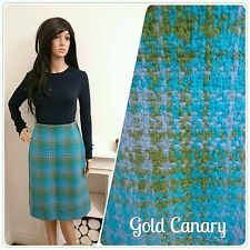 Vintage 60's Turquoise Scottish Wool Checked Geo Skirt Mod 12 40