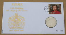 QUEEN'S 70TH BIRTHDAY 1996 JERSEY FDC WITH JERSEY £2 COIN