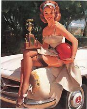 Elvgren Cute Redhead Nylons Garter Pin-up Racing Trophy Mercedes Race Car  9x12